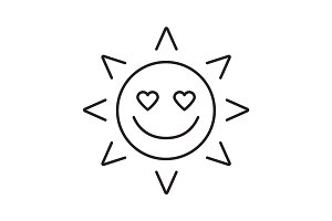 In love sun smile linear icon