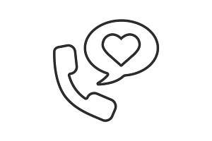 Romantic phone talk linear icon
