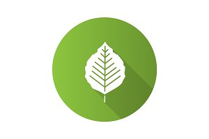 Poplar leaf flat design long shadow glyph icon