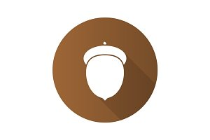 Acorn flat design long shadow glyph icon