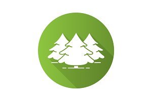 Fir forest flat design long shadow glyph icon