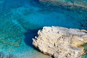 Summer morning sea coast (Albania).