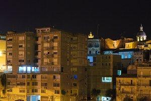 Night Lentini town view, Sicily.