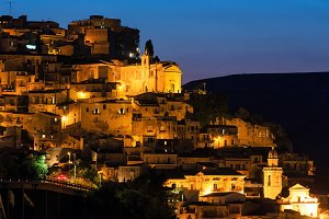 Night Lentini town view, Sicily.