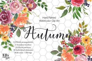 Autumn - Watercolor Flower Clip Art