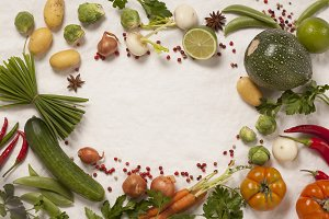 Frame of organic vegetables