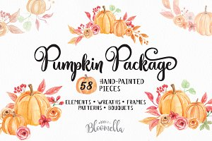 Pumpkin Fall Autumn Package Clip Art