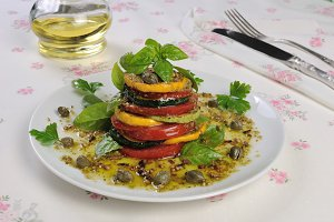 Appetizer of zucchini with tomato