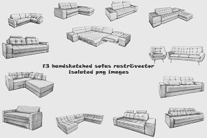 13 handsketched sofas