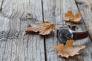 Fall leaf and watch