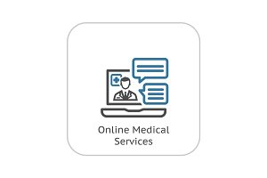 Online Medical Services Icon. Flat Design.