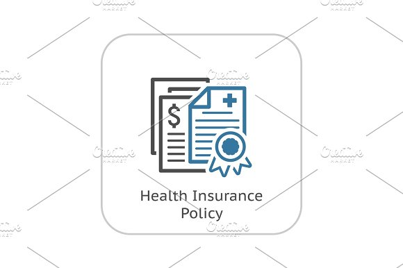 Health Insurance Policy Icon Flat Design