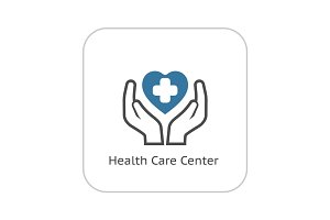 Health Care Center Icon. Flat Design.