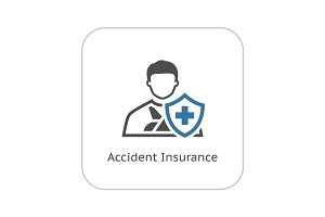 Accident Insurance Icon. Flat Design.