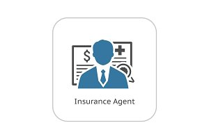 Insurance Agent Icon. Flat Design.