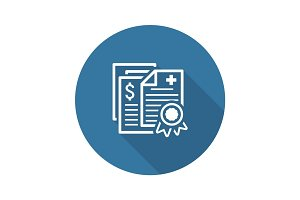 Health Insurance Policy Icon. Flat Design.
