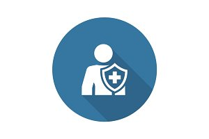Personal Insurance Icon. Flat Design.