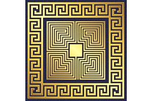 vector Traditional vintage gold Greek ornament, Meander