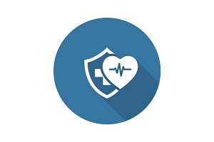 Health Insurance Icon. Flat Design.