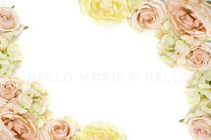 Soft Floral Flat Lay Stock Image