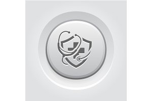 Medical Insurance Icon. Grey Button Design.