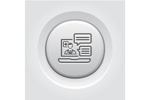 Online Medical Services Icon. Grey Button Design.
