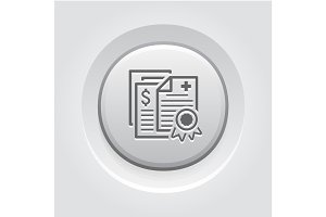 Health Insurance Policy Icon. Grey Button Design.