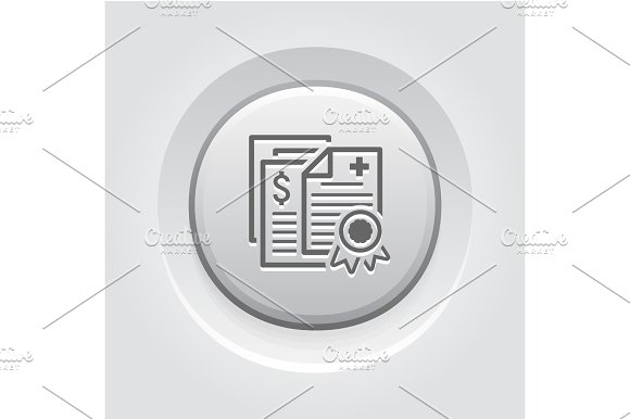 Health Insurance Policy Icon Grey Button Design