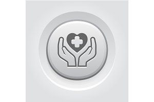 Health Care Center Icon. Grey Button Design.