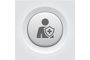 Personal Insurance Icon. Grey Button Design.