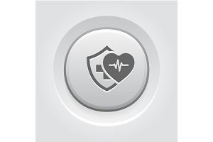 Health Insurance Icon. Grey Button Design.
