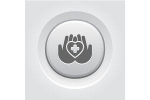 Heart Care Icon. Grey Button Design.