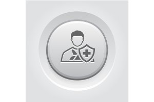 Accident Insurance Icon. Grey Button Design.