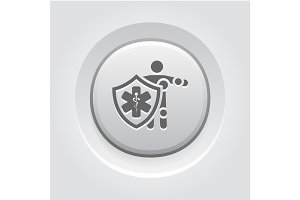 Life Insurance Icon. Grey Button Design.