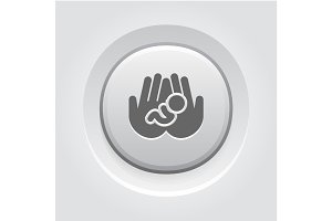 Life Care Icon. Grey Button Design.
