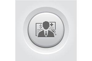 Insurance Agent Icon. Grey Button Design.
