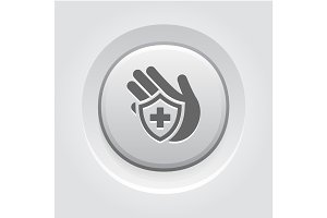 Insurance Icon. Grey Button Design.