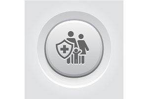Family Insurance Icon. Grey Button Design.