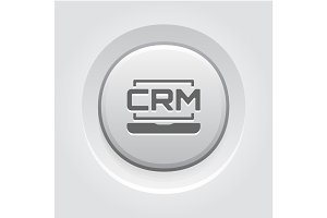 Online CRM System Icon. Grey Button Design.