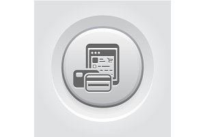 Pay As You Go Icon. Grey Button Design.