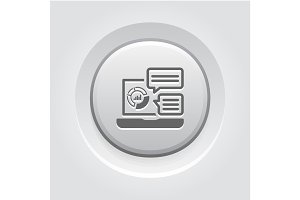 Store Analytics Icon. Grey Button Design.