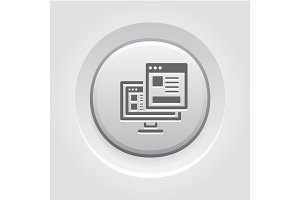 Landing Page Icon. Grey Button Design.