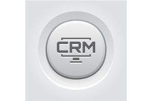 Desktop CRM System Icon. Grey Button Design.