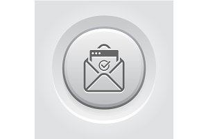 Confirmation Letter Icon. Grey Button Design.