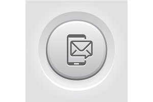 Mobile Marketing Icon. Grey Button Design.