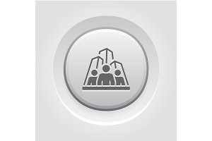 Business Team Icon. Grey Button Design.