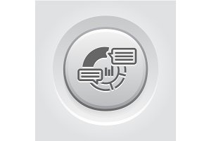 Analytics Icon. Grey Button Design.