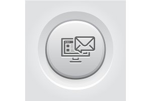 E-mail Marketing Icon. Grey Button Design.