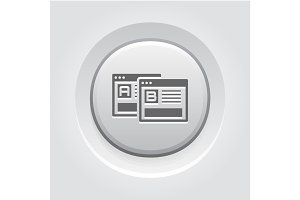 AB Testing Icon. Grey Button Design.