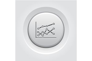 Statistics Icon. Grey Button Design.